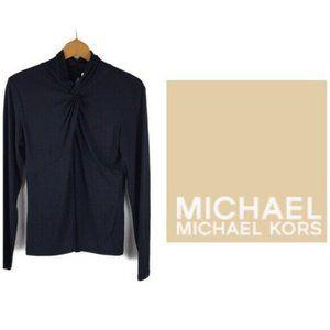 Michael Kors Navy Long Sleeve Knot Mock Neck Top